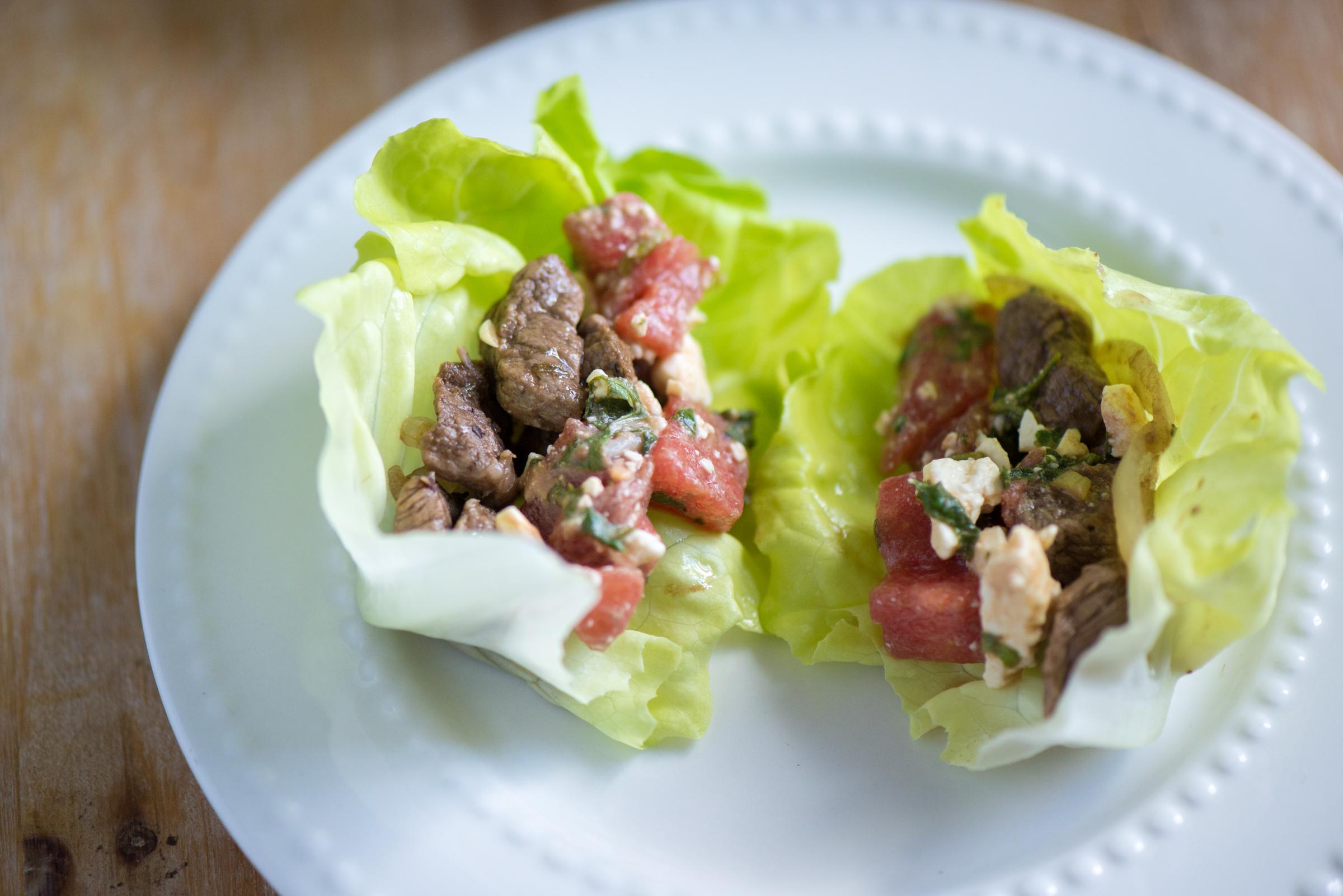 Steak + Watermelon Lettuce Wraps